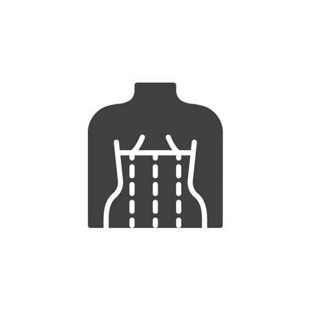 Orthopedic corset on the human body vector icon. filled flat sign for mobile concept and web design. Posture corrector glyph icon. Symbol, logo illustration. Vector graphics 일러스트