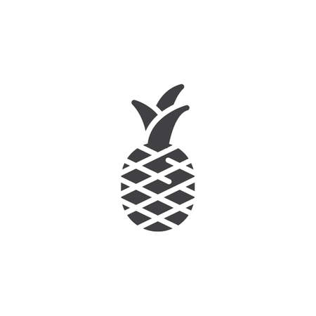 Pineapple fruit vector icon. filled flat sign for mobile concept and web design. Pineapple with leaves glyph icon. Symbol, logo illustration. Vector graphics Иллюстрация