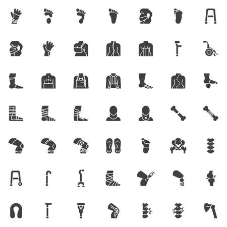Orthopedic rehabilitation vector icons set, modern solid symbol collection, filled style pictogram pack. Signs, logo illustration. Set includes icons as wrist brace, spine treatment posture correction