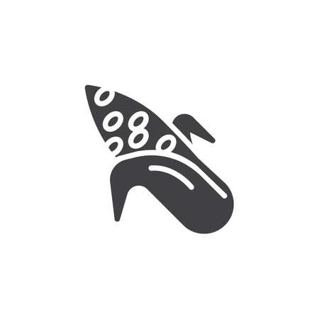 Corn cob vector icon. filled flat sign for mobile concept and web design. Ripe corn glyph icon. Symbol, logo illustration. Vector graphics
