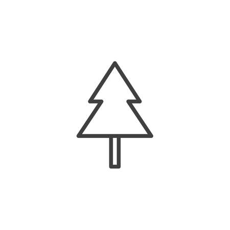 Christmas tree line icon. linear style sign for mobile concept and web design. Pine tree outline vector icon. Symbol, logo illustration. Vector graphics