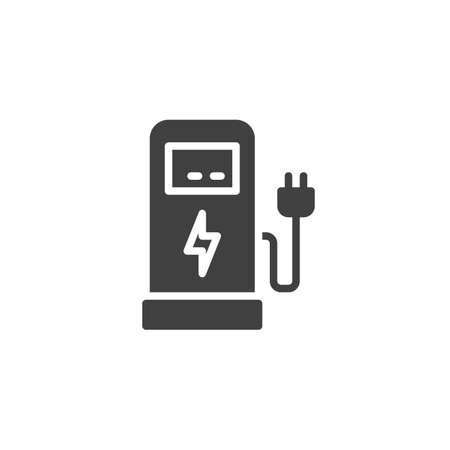 Electric car charging station vector icon. filled flat sign for mobile concept and web design. Electric Fuel Pump glyph icon. Symbol, logo illustration. Vector graphics