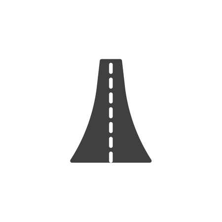 Highway road vector icon. filled flat sign for mobile concept and web design. Straight road glyph icon. Symbol, logo illustration. Vector graphics