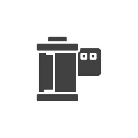 Camera film roll vector icon. filled flat sign for mobile concept and web design. Film camera glyph icon. Symbol, logo illustration. Vector graphics