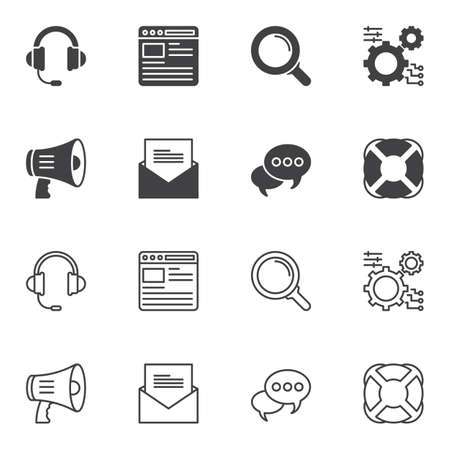 Support icon set line and glyph version, outline and filled vector sign. linear and full pictogram. Symbol, logo illustration. Set includes icons as support headphones, bullhorn, setting gears, email Illustration