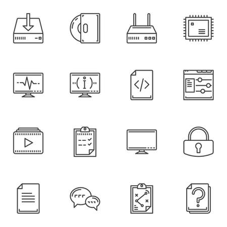 Computer line icons set. linear style symbols collection, outline signs pack. vector graphics. Set includes icons as wifi router, cpu microchip, pc monitor, coding, download storage disk, media player