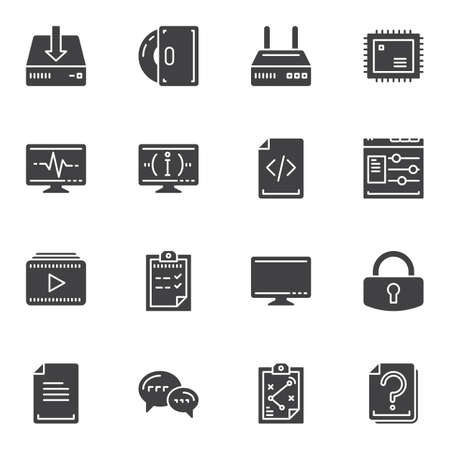 Computer vector icons set, modern solid symbol collection, filled style pictogram pack. Signs, logo illustration. Set includes icons as wifi router, cpu microchip, pc monitor, coding, software disk