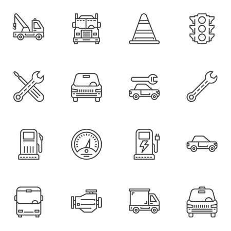 Transport line icons set. linear style symbols collection, outline signs pack. vector graphics. Set includes icons as lorry truck, car repair service, electric car charge, gas station, taxi, bus