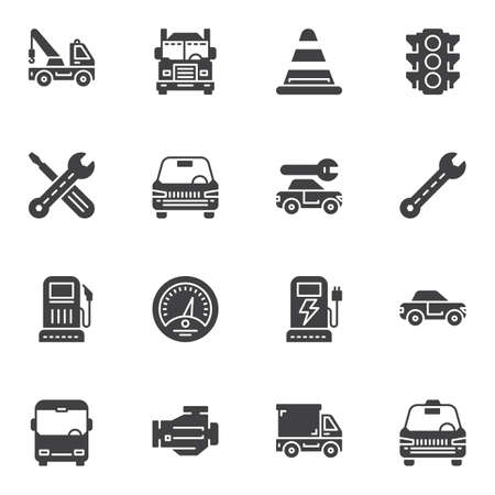 Transport vector icons set, modern solid symbol collection filled style pictogram pack. Signs, logo illustration. Set includes icons as lorry truck, car repair service, electric car charge, taxi, bus