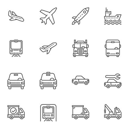 Transportation line icons set. linear style symbols collection, outline signs pack. vector graphics. Set includes icons as spaceship, airplane, railway train, taxi car, metro, delivery truck, ship