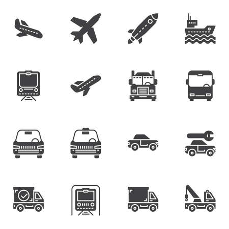 Transportation vector icons set, modern solid symbol collection, filled style pictogram pack. Signs, logo illustration. Set includes icons as spaceship, airplane, railway train, taxi car, metro, ship