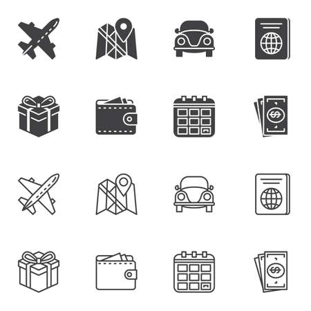 Travel icon set line and glyph version, outline and filled vector sign. linear and full pictogram. Symbol, logo illustration. Set includes icons as airplane, map marker, passport document, money, car