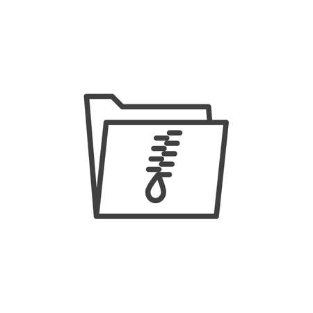 Zip Folder line icon. linear style sign for mobile concept and web design. Archive document folder outline vector icon. Symbol, logo illustration. Vector graphics