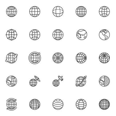 Globe grid line icons set. linear style symbols collection, outline signs pack. vector graphics. Set includes icons as global network communication, worldwide, geography earth globe, around the world Иллюстрация