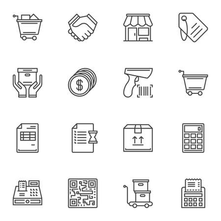 E-commerce line icons set. linear style symbols collection, outline signs pack. vector graphics. Set includes icons as shopping cart, store, delivery box, calculator, price tag, wish list, barcode