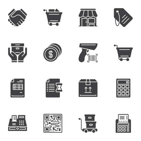 E-commerce vector icons set, modern solid symbol collection, filled style pictogram pack. Signs, logo illustration. Set includes icons as shopping cart, store, delivery box, calculator, price tag
