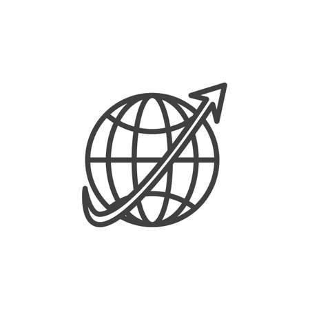 Worldwide line icon. linear style sign for mobile concept and web design. Globe grid and arrow outline vector icon. Symbol, logo illustration. Vector graphics
