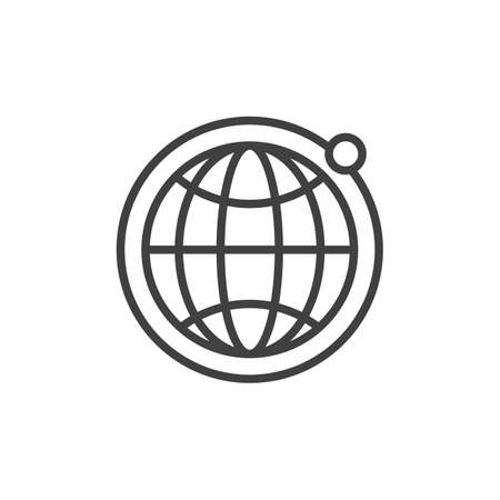 Planet Earth satellite line icon. Worldwide linear style sign for mobile concept and web design. Globe grid outline vector icon. Symbol, logo illustration. Vector graphics