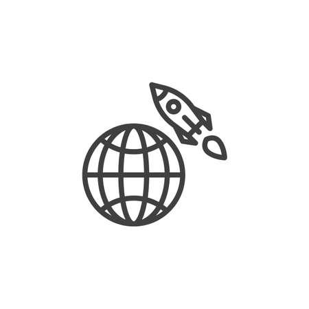 Globe and rocket line icon. linear style sign for mobile concept and web design. Startup rocket with earth planet outline vector icon. Symbol, logo illustration. Vector graphics