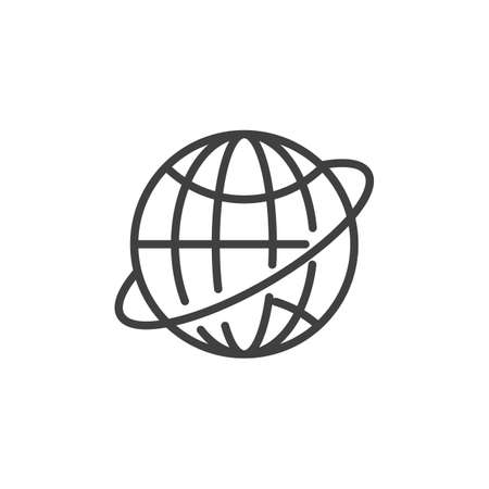 Worldwide line icon. Globe grid linear style sign for mobile concept and web design. Planet Earth orbit outline vector icon. Symbol, logo illustration. Vector graphics