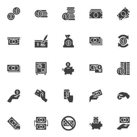 Money vector icons set, modern solid symbol collection, filled style pictogram pack. Signs, logo illustration. Set includes icons as Dollar coins, money bill, payment credit card, cash, bank cheque Illustration
