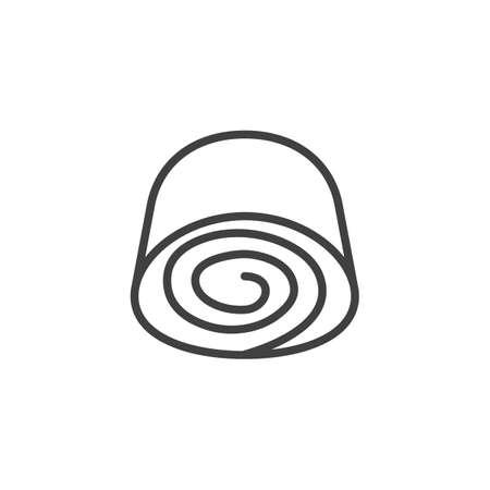 Icône de ligne de loukoum. signe de style linéaire pour le concept mobile et la conception Web. Icône de vecteur de contour de rouleau de lokum turc traditionnel. Symbole, illustration du logo. Graphiques vectoriels Logo