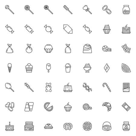 Sweets and candies line icons set. linear style symbols collection outline signs pack. vector graphics. Set includes icons as Lollipop candy, Caramel, Chocolate bar, Ice cream sundae, Cupcake, cookie