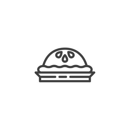 Tartlet cake line icon. linear style sign for mobile concept and web design. Cupcake outline vector icon. Symbol, logo illustration. Vector graphics