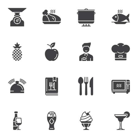 Restaurant vector icons set, modern solid symbol collection filled style pictogram pack. Signs logo illustration. Set includes icons as cooking pot, frying fish, waiter, chef hat, menu booklet, drinks