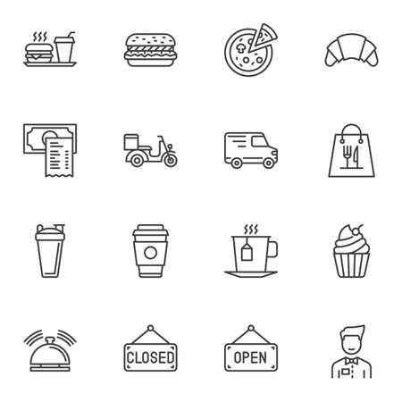 Restaurant food line icons set. linear style symbols collection outline signs pack. vector graphics. Set includes icons as fast food, pizza, croissant, waiter, scooter, call button, burger, coffee cup