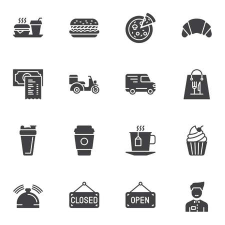 Restaurant food vector icons set, modern solid symbol collection, filled style pictogram pack. Signs, logo illustration. Set includes icons as fast food, pizza, waiter, scooter, burger, coffee cup