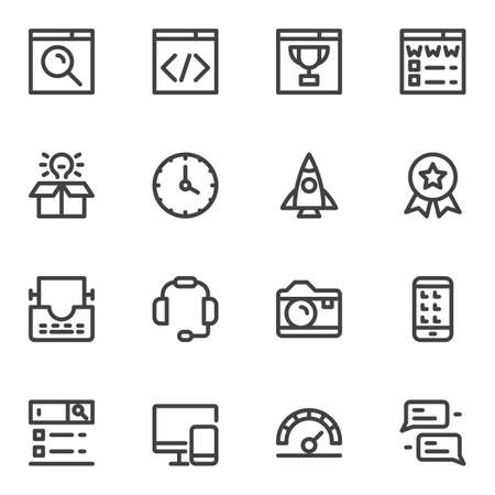 SEO line icons set. linear style symbols collection, outline signs pack. vector graphics. Set includes icons as website page, startup rocket, idea lamp, searching bar, web development, computer, phone
