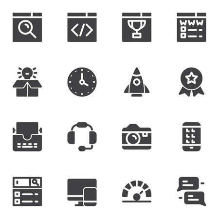 SEO vector icons set, modern solid symbol collection filled style pictogram pack. Signs logo illustration. Set includes icons as website page, startup rocket, idea lamp, searching bar, web development Illustration