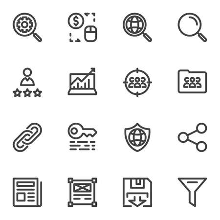 Search engine optimization line icons set. linear style symbols collection, outline signs pack. vector graphics. Set includes icons as setting gear, global search, seo, link, rating stars, management