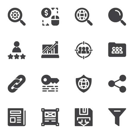 Search engine optimization vector icons set, modern solid symbol collection, filled style pictogram pack. Signs, logo illustration. Set includes icons as setting gear, global search, seo, management 向量圖像