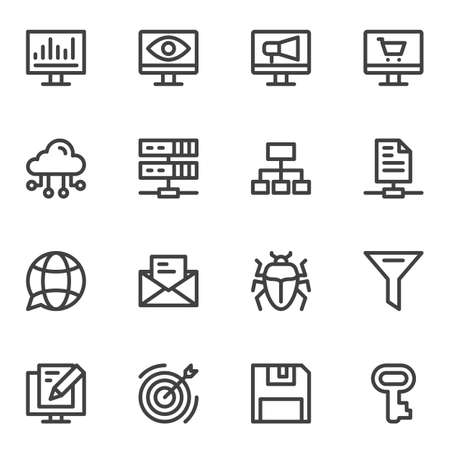 SEO line icons set. linear style symbols collection outline signs pack. vector graphics. Set includes icons as computer monitor, network, cloud computing, virus bug, key, target, server, shopping
