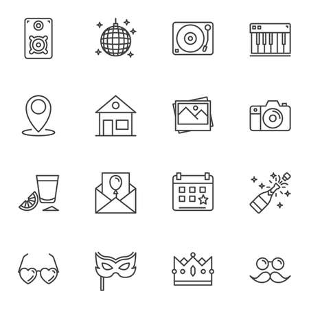 Party decoration line icons set. linear style symbols collection, outline signs pack. vector graphics. Set includes icons as Disco ball, dj turntable, champagne bottle, carnival mask, photo camera 일러스트