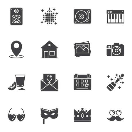 Party decoration vector icons set, modern solid symbol collection filled style pictogram pack. Signs, logo illustration. Set includes icons as Disco ball, dj turntable, champagne bottle, carnival mask 일러스트