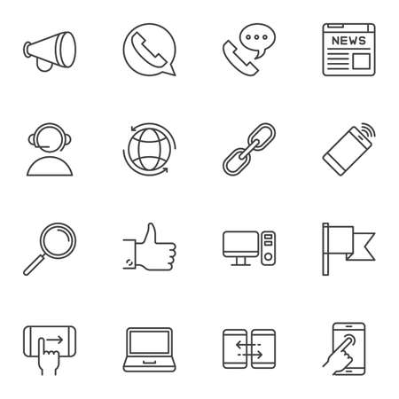 Communication line icons set. linear style symbols collection, outline signs pack. vector graphics. Set includes icons as bullhorn, telephone contact, newspaper, link, computer, laptop, smartphone