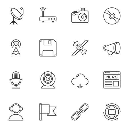 Communication and media line icons set. linear style symbols collection, outline signs pack. vector graphics. Set includes icons as wifi router, microphone, satellite dish, cloud computing, web camera Stock Illustratie