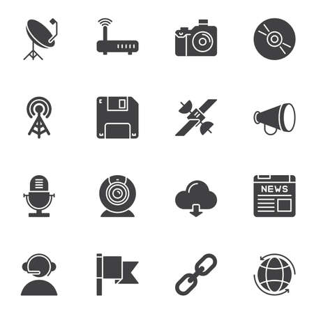 Communication and media vector icons set, modern solid symbol collection, filled style pictogram pack. Signs, logo illustration. Set includes icons as wifi router, microphone, satellite dish, support