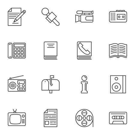 Communication line icons set. linear style symbols collection, outline signs pack. vector graphics. Set includes icons as internet, radio, microphone, camera, blog, mail box, retro tv, film strip reel Фото со стока - 131366869