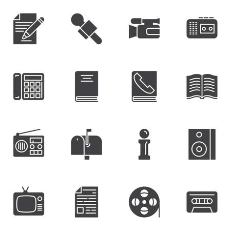 Communication vector icons set, modern solid symbol collection, filled style pictogram pack. Signs, logo illustration. Set includes icons as internet, radio, microphone, camera, blog, mail box, info Archivio Fotografico - 131366870