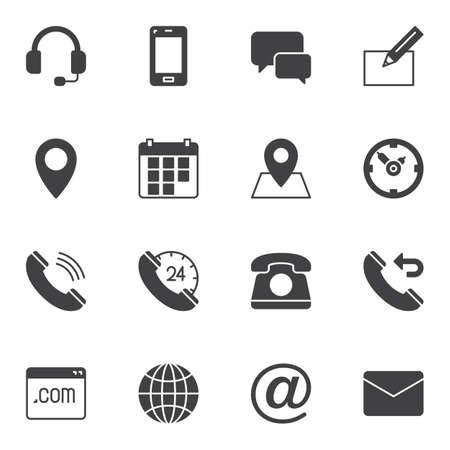 Set di icone vettoriali di contatto, raccolta di simboli solidi moderni, pacchetto di pittogrammi in stile pieno. Segni, illustrazione del logo. Il set include icone come auricolare di supporto, telefonata, calendario, busta e-mail, segnaposto, pagina web