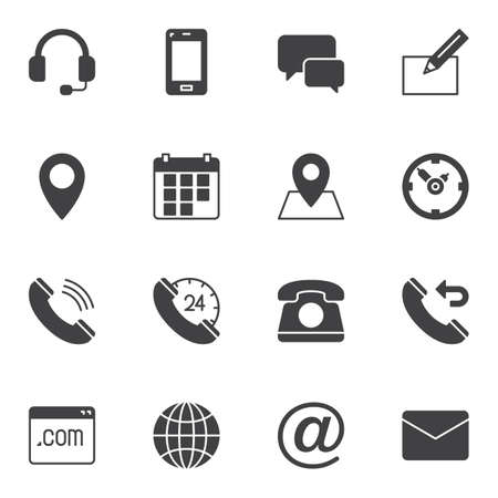 Zestaw ikon wektorowych kontaktu, nowoczesna kolekcja symboli stałych, pakiet wypełniony styl piktogramów. Znaki, ilustracja logo. Zestaw zawiera ikony, takie jak zestaw słuchawkowy, rozmowa telefoniczna, kalendarz, koperta e-mail, pin lokalizacji, strona internetowa