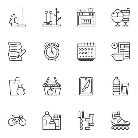 Lifestyle line icons set. linear style symbols collection, outline signs pack. vector graphics. Set includes icons as alarm clock, shopping basket, calendar, cooking oven, healthy food, fitness, sport Illusztráció