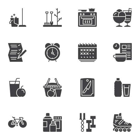 Lifestyle vector icons set, modern solid symbol collection, filled style pictogram pack. Signs, logo illustration. Set includes icons as