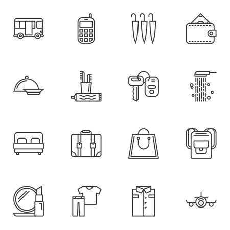 Travel lifestyle line icons set. linear style symbols collection, outline signs pack. vector graphics. Set includes icons as money wallet, luggage case, hiking backpack, cosmetics, airplane, bus, key Banque d'images - 131367381