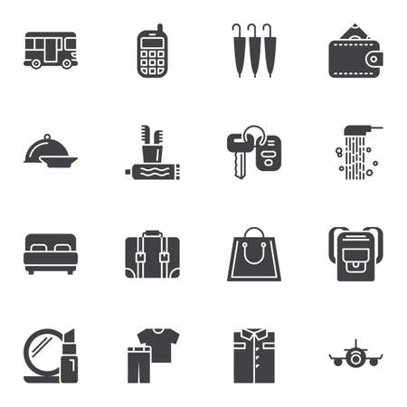 Travel lifestyle vector icons set, modern solid symbol collection, filled style pictogram pack. Signs, logo illustration. Set includes icons as money wallet, luggage case, hiking backpack, airplane Banque d'images - 131367495