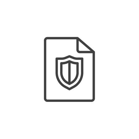 Document protection line icon. Confidential information linear style sign for mobile concept and web design. File security shield outline vector icon. Symbol, logo illustration. Vector graphics